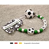 Baby SCHNULLERKETTE mit NAMEN   Motiv Fussball in Vereinsfarben - grün, weiß