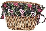 Embassy Geflochtener Weiden Fahrradkorb mit Einlage und Halterung für Lenker Vorne | Einkaufskorb | Henkel | 55 x 38 x 59 cm, Farbe:Paradise