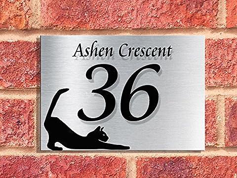Designer House Number Plaques (STRETCHING CAT) | Alum