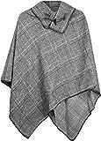 styleBREAKER Poncho mit edlem klein Karierten Muster und Knebelknopf am Kragen, Damen 08010003, Farbe:Schwarz-Weiß