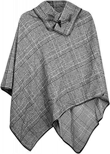 styleBREAKER Poncho mit edlem klein Karierten Muster und Knebelknopf am Kragen, Damen 08010003, Farbe:Schwarz-Weiß -