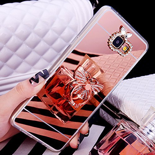 Coque pour Galaxy A5 2017 Housse Diamant,ETSUE Mode Luxe Miroir Bling Glitter Galaxy A5 2017 Silicone Coque Luxueux Crystal Scintiller Coque Bague Etui Coque Rose Romantique Élégant Fleur Couronne Mot Papillon Or Rose