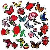 JZK 12 Toppe termoadesive fiori + 10 toppe da cucire farfalle, toppe ricamate farfalle rose applicazioni termoadesive per tessuti vestiti abbigliamento t-shirt jeans giacca denim sciarpe borse