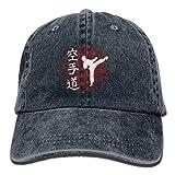 Hoswee Unisex Kappe/Baseballkappe, Karate Letter Denim Hat Adjustable Female Plain Baseball Cap