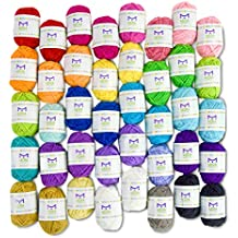 Paquetes básicos de hilados de hilo - 40 hilos de acrílico Skeins - colores surtidos - perfecto para cualquier proyecto de ganchillo y punto