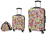 3-teiliges Trolley-Kofferset Reisekoffer Beauty Case FLOWER bunt
