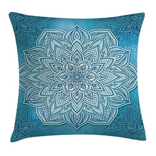 Proud Clothing Mandala - Funda de cojín, diseño de flor de loto indio con encaje oriental vibrante...
