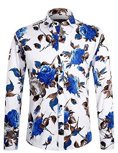 APTRO Herren Freizeit Mercerisierte Baumwolle Mehrfarbig Langarm Shirt #1902 L (Hawaiian Shirt Honolulu)