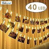 ELINKUME® LED Photo Clip catena leggera, 40 clip foto caldo bianco stringa della lampada, 5.2 metri/17,1 piedi, alimentato a batteria, perfetto per appendere le immagini, note, opere d'arte, Memo
