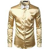 PARKLEES Men's Luxury Shiny Silk Like Satin Long Sleeve Dress Shirts for Party Disco Prom