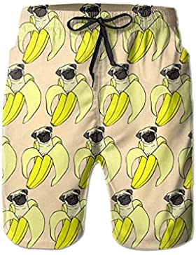 UGTHSLLR Funny Pud Dog Banana Repeat Summer Quick-Drying Board Short Swim-Trunk For Men