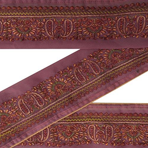 Jahrgang indische Spitze gestickte Gebrauchte Sari Border Purple Ribbon Sewing 1yd Trim (Gestickte Ribbon Trim)