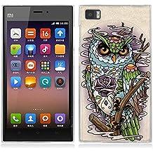 Funda Xiaomi Mi3 - Fubaoda - Alta Calidad Serie de la pintura, Buho de la historieta del león del tigre, Gel de Silicona TPU, Fina, Flexible, Resistente a los arañazos en su parte trasera, Amortigua los golpes, funda protectora anti-golpes para Xiaomi Mi3