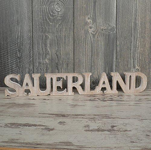 Sauerland Schriftzug aus Holz 60cm braun Buchstaben Wanddeko Geschenk Holzschild 2018