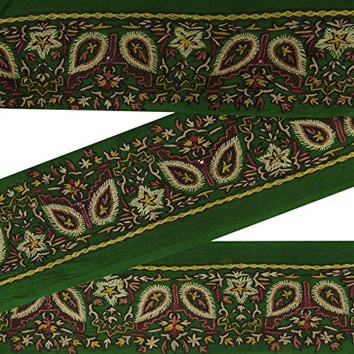 Vintage Indian Sari Border bestickt Antik Handwerk Deco Trim gruene Spitze 2 Yds (Spitze Yds)