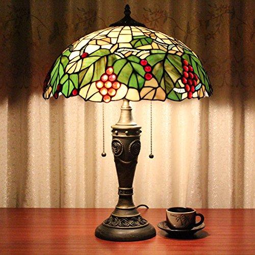 Lampen Tiffany-stil Lampen (16 Zoll Pastoral Trauben Kreatives Buntglas Handgefertigte Doppel Kopf Reißverschluss Tiffany Stil Tischlampe Schreibtisch Lampe Nachttisch Lampe)