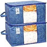 Kuber Industries Leheriya Design Underbed Storage Bag, Storage Organiser, Blanket Cover Set of 2 - Royal Blue, Extra Large Size - CTKTC0015227