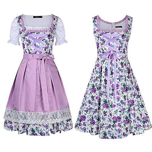 LanLan Trachten Damen Dirndl Set Oktoberfest, Karneval Party Dirndl Kleid Drei Stücke Anzug Farbe: Lila Größe: 34