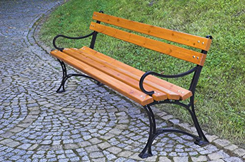 dobar Große Garten Sitzbank aus Gusseisen massiv, FSC für draußen wetterfest, Holzbank mit Lehne aus Metall, 180 x 45 x 72,5 cm, braun - 7
