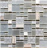 Mosaik Fliese Transluzent grau Kombination Glasmosaik Crystal Stein klar grau grau matt für BODEN WAND BAD WC DUSCHE KÜCHE FLIESENSPIEGEL THEKENVERKLEIDUNG BADEWANNENVERKLEIDUNG Mosaikmatte Mosaikplatte