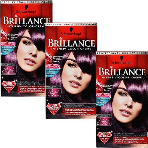 3x Schwarzkopf Brilliance 888 Dunkle Kirsche Haarfarbe - 147ml