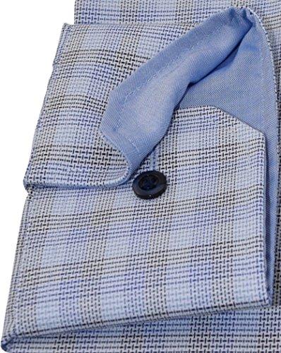 Eterna Long Sleeve Shirt Comfort Fit Oxford Checked Blu/Beige