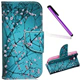 Samsung Galaxy S4 Mini Hülle,Samsung Galaxy S4 Mini Case,Galaxy S4 Mini Hülle Leder Schwarz Handy Tasche Wallet Case Flip Cover Etui für Samsung Galaxy S4 Mini,EMAXELERS Galaxy S4 Mini Case Niedlich Blau Schmetterling Chrysantheme Muster Schutzhülle Ledertasche Lederhülle Handyhülle Hüllen mit Standfunktion Kunstleder für Samsung Galaxy S4 Mini,Blue Almond Tree
