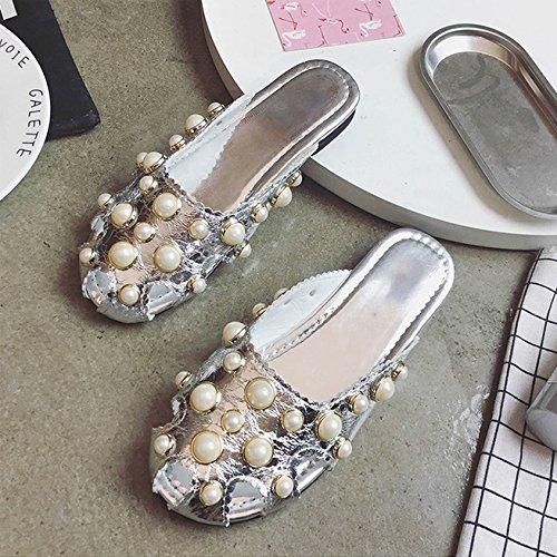 TMKOO& 2017 estate nuovi sandali epoca perla europee e americane scarpe aperte Baotou femminile piatte con pantofole piatta marea selvaggio Argento