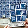"""BLUE GLASS MOSAIC EFFECT WALL TILES: Box of 18 tiles Stick and Go Wall Tiles 4""""x 4"""" (10cm x 10cm) Each box of tiles will cover an area of 2 SQR. FT. NO CEMENTING NO GROUTING NO MESS! TILE OVER ANY SIZE OF TILE OR ONTO THE WALL. Adhesive Wall Tiles that cover the area underneath. Steam & Water Resistant with the look of Ceramic Tiles. An instant makeover for both Kitchens & Bathrooms."""
