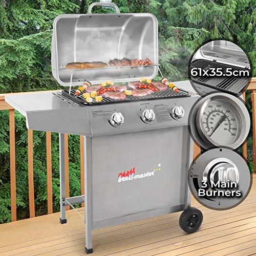 Griglia per Giardino A Gas con 3 Bruciatori | Area Grill 61 x 35 cm, con Termometro, Colore: Argento | Barbecue, Picnic e Terrazzo, BBQ Gas