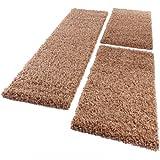 PHC Bettumrandung Läufer Shaggy Hochflor Langflor Teppich in Beige Läuferset 3 Tlg, Grösse:2mal 70x140 1mal 70x250