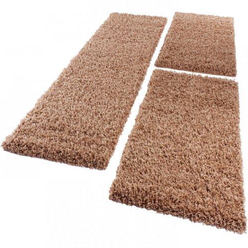 Bettumrandung Läufer Shaggy Hochflor Langflor Teppich in Beige Läuferset 3 Tlg., Grösse:2mal 70x140 1mal 70x250