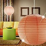 MIA Light Papier Kugel Hänge Leuchte 400mm/ Asia/ Orange/ Pendel Lampe Japan Lampion Hängelampe Hängeleuchte Papierkugel Papierlampe Papierleuchte Pendellampe Pendelleuchte