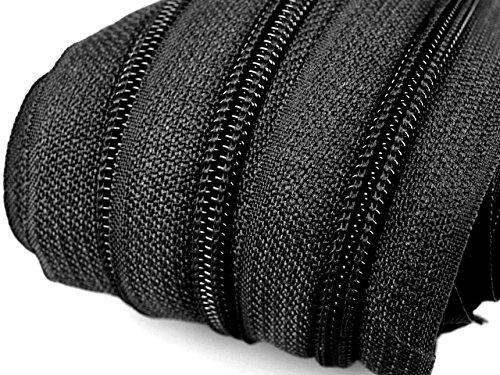 6 m endlos Reißverschluss 5 mm Laufschiene + 15 Zipper Meterware teilbar Farbwahl (schwarz) Reißverschluss