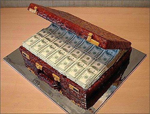 Preisvergleich Produktbild Dollar Bills Auf Schmelz Glasur Essbarer Kuchen- Aufsatz