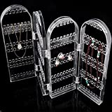 #6: Kurtzy Clear Acrylic Folding Earring Hook Stand Display Holder and Organizer