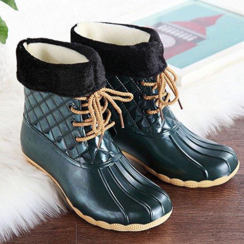 COFACE Damen Mode schneeschuhe gefüllte stiefel wasserdichte kurzschaft Regenstiefel Boots für Herbst und winter Grün