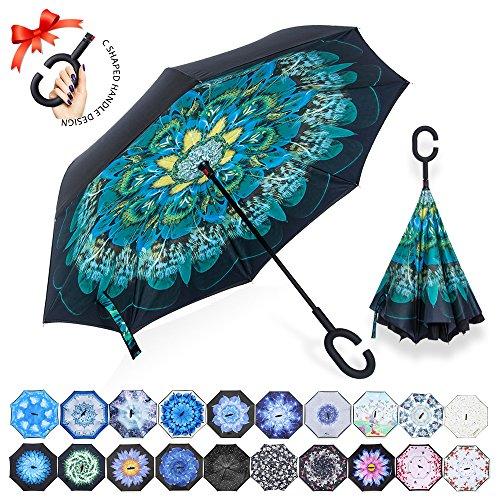 ZOMAKE Inverted Stockschirme, Innovative Schirme Double Layer, Winddicht Regenschirm, Freie Hand,Umgedrehter Regenschirm mit C Griff für Auto Outdoor (Pfau)