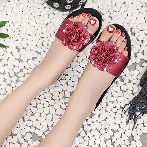 Longra Donna Pattini decorati con fiore di personalità di moda Vino Rosso