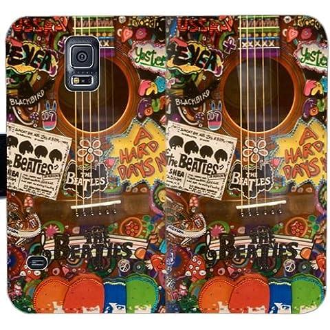Funda Samsung GALAXY Note 4,Cubierta de lujo del caso del tirón de la carpeta del imán de la PU de la manera [Beatles] M1VNC