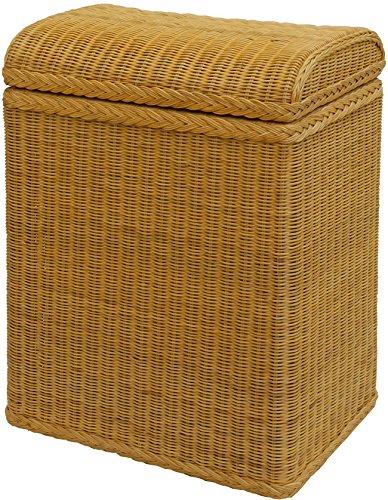 Wäschekorb/Wäschebox mit gewölbtem Deckel aus Echtem Rattan, Wäschetruhe/Korb, Box zur Aufbewahrung mit Inlett (Honig)