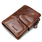 Portafoglio Uomo in vera pelle Bifold Trifold Wallet Card Holder Staccabile Moneta Tasca(Marrone)- QB002