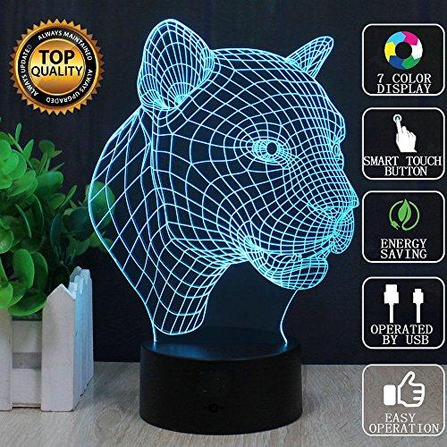 3D-Illusion Leopard LED-Schreibtisch-Tabellen-Lampen-Nachtlicht, 7 Farb-Touch-Lampe FZAI Kiddie Kinder Kinder Familie Weihnachtsgeschenk Home Office Children Themen Dekoration