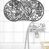 Boubouki Wasserabweisende Fliesenaufkleber MAPPE-Monde (Poster) - Opaque – für Bad und Küche | 15 x 15 cm