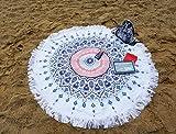 Ferocity Mandala Runder Strandtuch aus Dicker Frottee für Sand Wasser Pool Reisen Camping Picknick Bunt Colorful [060]