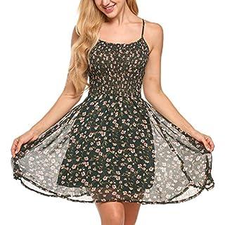 Zeagoo Damen Chiffon Kleid Strandkleid Blumen Druckkleid Bandeaukleid Floral Sommerkleid Spaghetti Trägerkleid, Grün, 42 (Herstellergröße : XL)