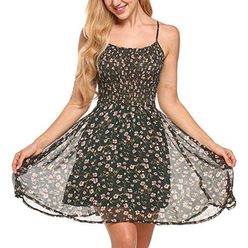 Zeagoo Damen Chiffon Kleid Strandkleid Blumen Druckkleid Bandeaukleid Floral Sommerkleid Spaghetti Trägerkleid, Grün, 42 (Herstellergröße :...