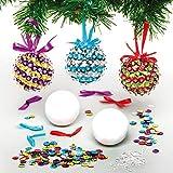 Baker Ross AX530 Pailletten Kerstbal-Decoratiesets Voor Kinderen - Pakket Van 3, Kerstboomversieringen Voor Creatieve Kunst En Knutselspullen, Om Te Maken En Te Versieren.