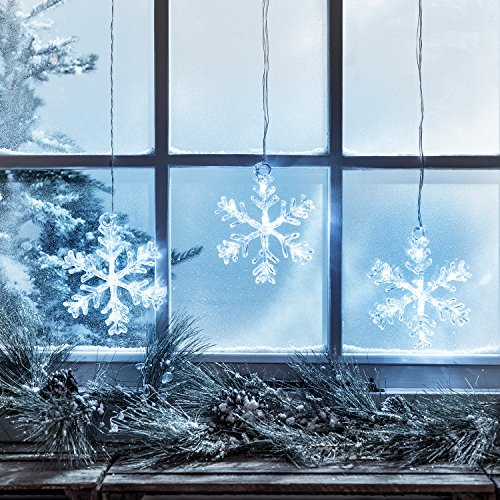 3 x LED Snowflake Window Decorations,with Timer, Christmas Decorations