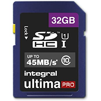 Integral UltimaPro 32 GB SDHC Class 10 Memory Card up to 45 MB/s, U1 Rating